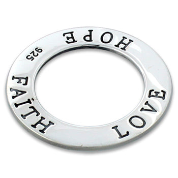 Sterling Silver Love Hope Faith Round Pendant