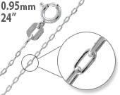 "Load image into Gallery viewer, Sterling Silver 24"" Forz D/C Chain Necklace - 0.95mm"