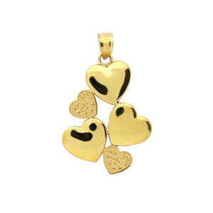 Gold Plated Sterling Silver 5 Hearts Pendant