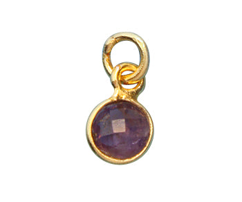 Gold Plated over Silver Bezel Pendant Amethyst Round 6mm - PACK OF 4