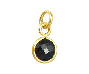 Gold Plated over Silver Bezel Pendant Black Onyx  Round 6mm - PACK OF 4