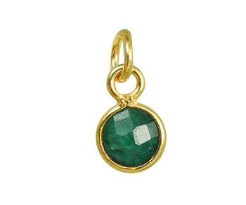 Gold Plated over Silver Bezel Pendant Dyed Emerald Round 6mm - PACK OF 4
