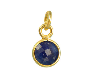 Gold Plated over Silver Bezel Pendant Dyed Sapphire Round 6mm - PACK OF 4