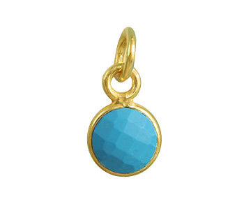 Gold Plated over Silver Bezel Pendant Turquoise Round 6mm - PACK OF 4