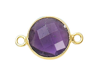 Gold Plated over Silver Bezelled Connector Amethyst Round 11mm