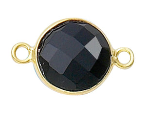 Gold Plated over Silver Bezelled Connector Black Onyx  Round 11mm