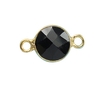 Gold Plated over Silver Bezelled Connector Black Onyx  Round 6mm - PACK OF 4