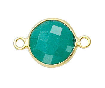 Gold Plated over Silver Bezelled Connector Dyed Emerald Round 11mm