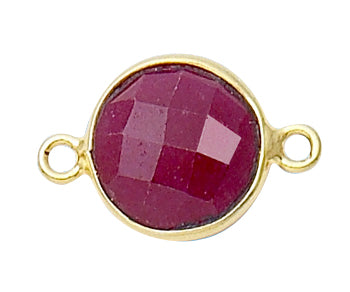 Gold Plated over Silver Bezelled Connector Dyed Ruby Round 11mm