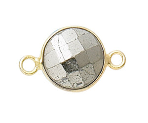 Gold Plated over Silver Bezelled Connector Pyrite Round 11mm