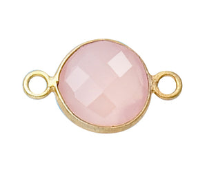 Gold Plated over Silver Bezelled Connector Rose Quartz Round 11mm