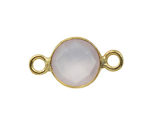 Gold Plated over Silver Bezelled Connector Rose Quartz Round 6mm - PACK OF 4