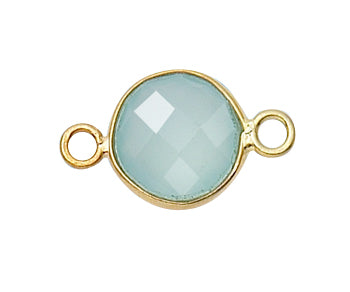 Gold Plated over Silver Bezelled Connector Sea Green Chalcedony Round 11mm