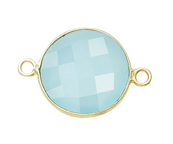 Gold Plated over Silver Bezelled Connector Sea Green Chalcedony Round 16mm