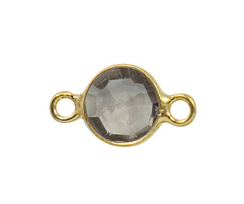 Gold Plated over Silver Bezelled Connector Smokey Quartz Round 6mm - PACK OF 4
