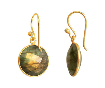 Gold Plated over Silver Bezelled Earrings Labradorite Round 16mm