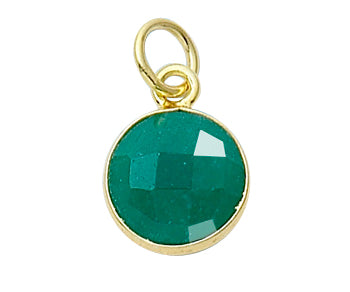 Gold Plated over Silver Bezelled Pendant Dyed Emerald Round 11mm