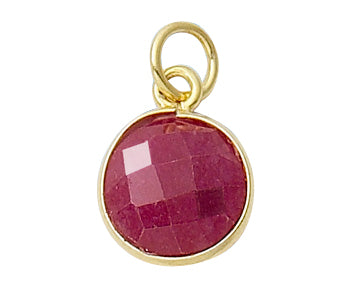 Gold Plated over Silver Bezelled Pendant Dyed Ruby Round 11mm