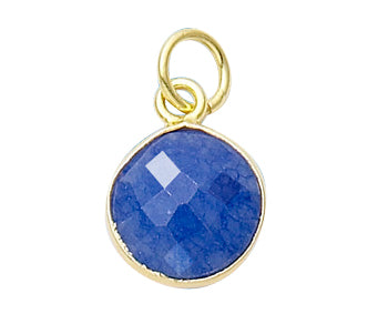 Gold Plated over Silver Bezelled Pendant Dyed Sapphire Round 11mm