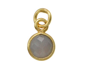 Gold Plated over Silver Bezelled Pendant Grey Moonstone Round 6mm - PACK OF 4