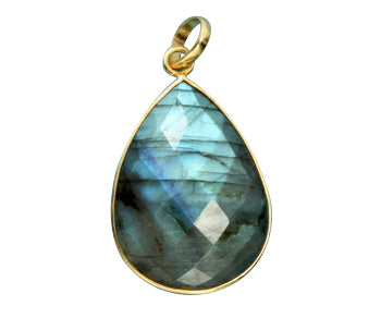 Gold Plated over Silver Bezelled Pendant Labradorite Pear