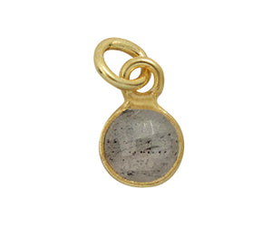 Gold Plated over Silver Bezelled Pendant Labradorite Round 6mm - PACK OF 4