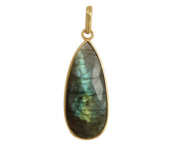 Gold Plated over Silver Bezelled Pendant Labradorite Teardrop