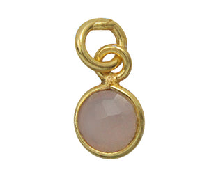 Gold Plated over Silver Bezelled Pendant Pink Onyx  Round 6mm - PACK OF 4