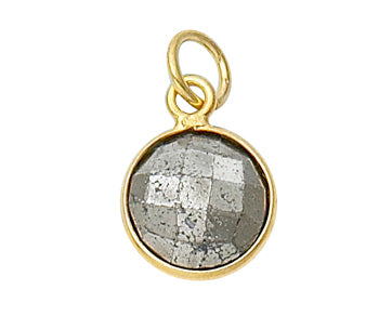 Gold Plated over Silver Bezelled Pendant Pyrite Round 11mm