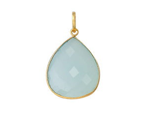 Gold Plated over Silver Bezelled Pendant Sky Blue Chalcedony Pear