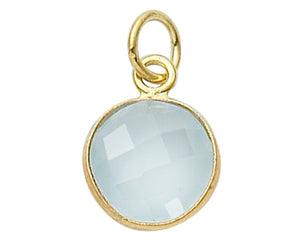 Gold Plated over Silver Bezelled Pendant Sea Green Chalcedony Round 11mm