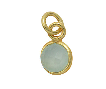Gold Plated over Silver Bezelled Pendant Sea Green Chalcedony Round 6mm - PACK OF 4