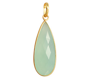 Gold Plated over Silver Bezelled Pendant Sea Green Chalcedony Teardrop