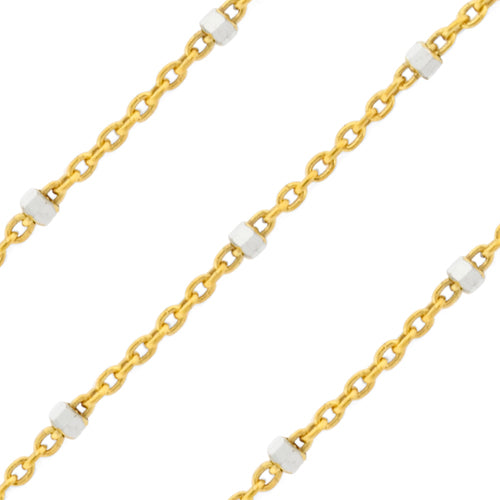Gold Plated over Silver Chain 2 Tone 1x1.5mm