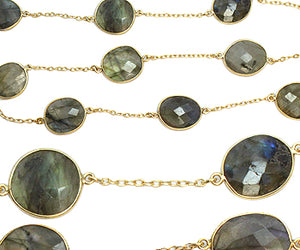 Gold Plated over Silver Chain w/ Bezelled Labradorite (sold by the foot)