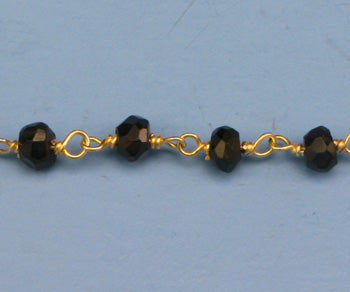 Gold Plated Over Silver Chain w/ Black Spinel Stone
