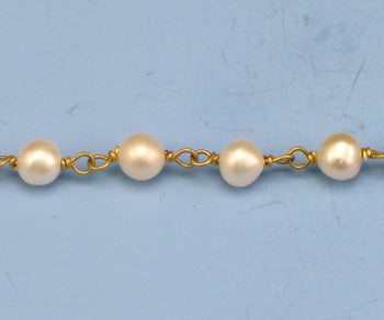 Gold Plated Over Silver Chain w/ Pearls