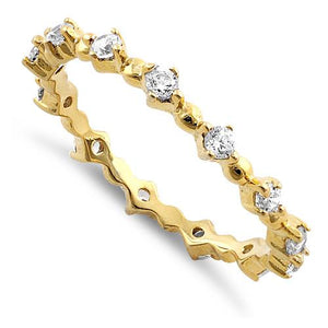 Gold Plated Sterling Silver Eternity Thin CZ Ring