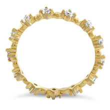 Load image into Gallery viewer, Gold Plated Sterling Silver Eternity Thin CZ Ring