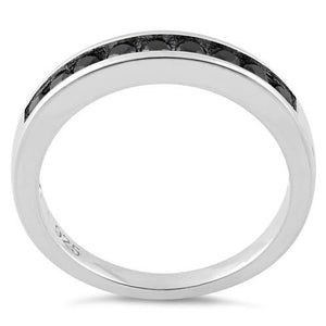 Sterling Silver Black CZ Band Ring