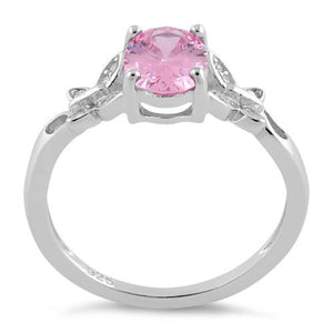 Sterling Silver Double Butterfly Pink Center Stone CZ Ring