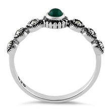 Load image into Gallery viewer, Sterling Silver Small Round Emerald Marcasite Ring