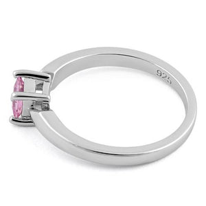 Sterling Silver Square Pink CZ Ring
