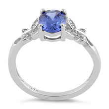 Load image into Gallery viewer, Sterling Silver Double Butterfly Tanzanite Center Stone CZ Ring