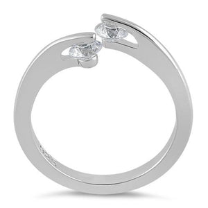 Sterling Silver Double Round Clear CZ Ring