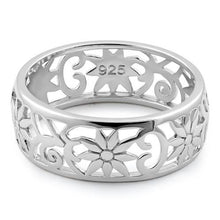 Load image into Gallery viewer, Sterling Silver Flower Band Ring