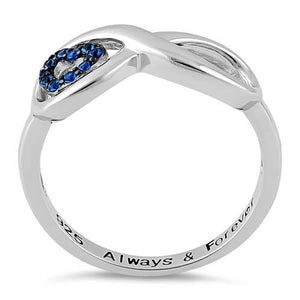 "Sterling Silver Infinity Blue Spinel Heart ""Always & Forever"" Engraved CZ Ring"