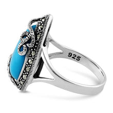 Load image into Gallery viewer, Sterling Silver Pear Shape Simulated Turquoise Marcasite Ring