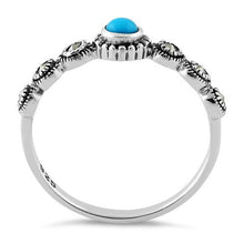 Load image into Gallery viewer, Sterling Silver Small Round Simulated Turquoise Marcasite Ring