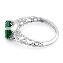 Load image into Gallery viewer, Sterling Silver Swirl Design Emerald and Clear CZ Ring